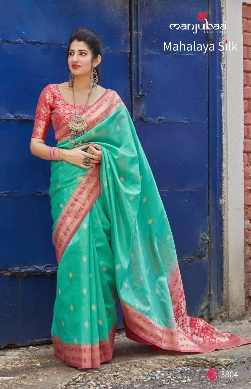 Manjubaa Mahalaya Silk 3801 To 3810 Series Designer Banarasi Silk Sarees Wholesale