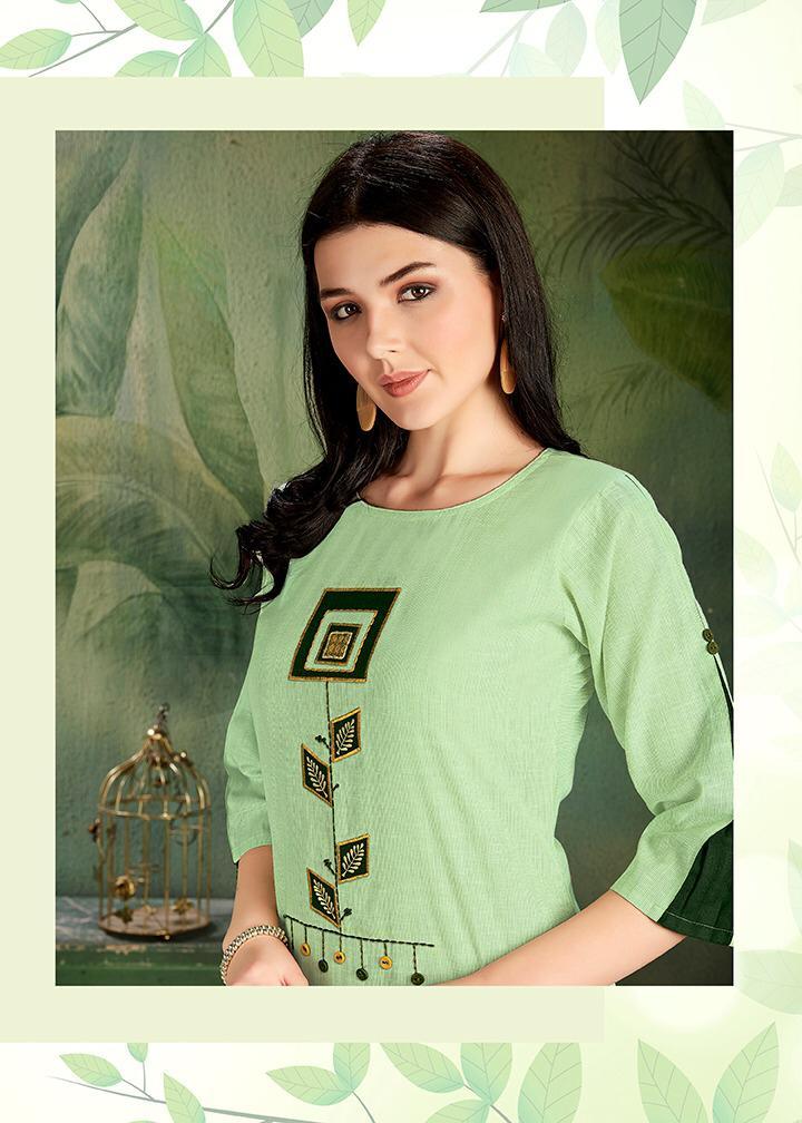 Dehliz Trendz Cherry Designer Cotton Embroiderd Kurti With Cotton Pants Wholesale