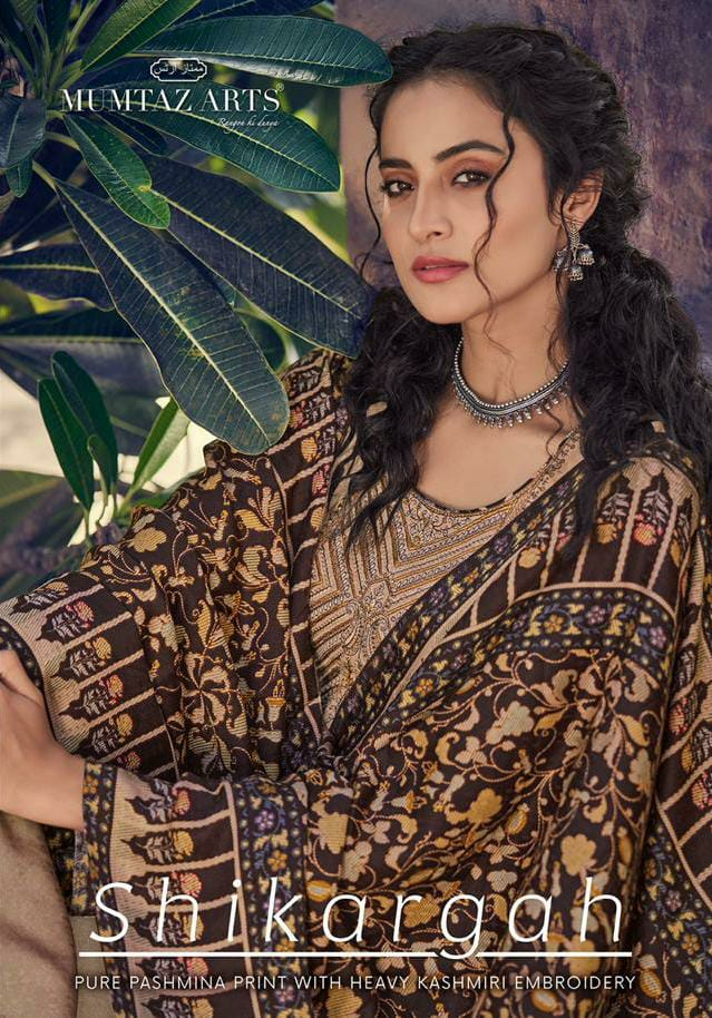 Mumtaz Arts Shikargah Designer Pashmina Kashmiri Embroidery Work Suits Wholesale