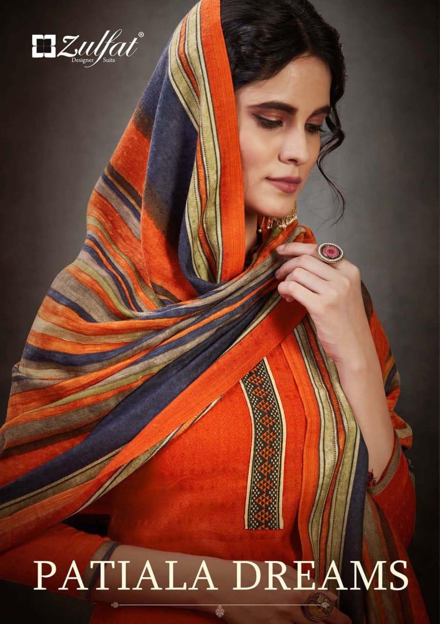 Zulfat Designer Patiala Dreams Pashmina Print With Kashmiri Tie Suits Wholesale