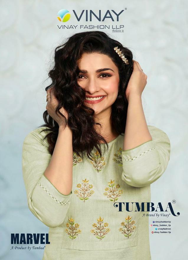 Vinay Tumbaa Marvel Designer  Embroidery Khatli Work Kurti With Pocket Pant Wholesale