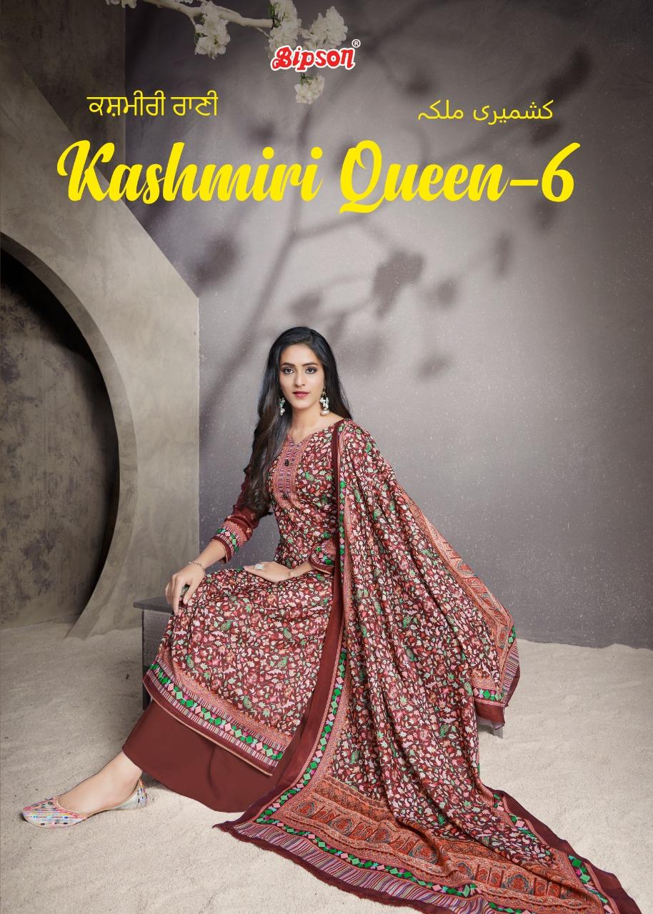 Bipson Kashmiri Queen 6 Designer Woolen Pashmina Digital Printed Suits Wholesale