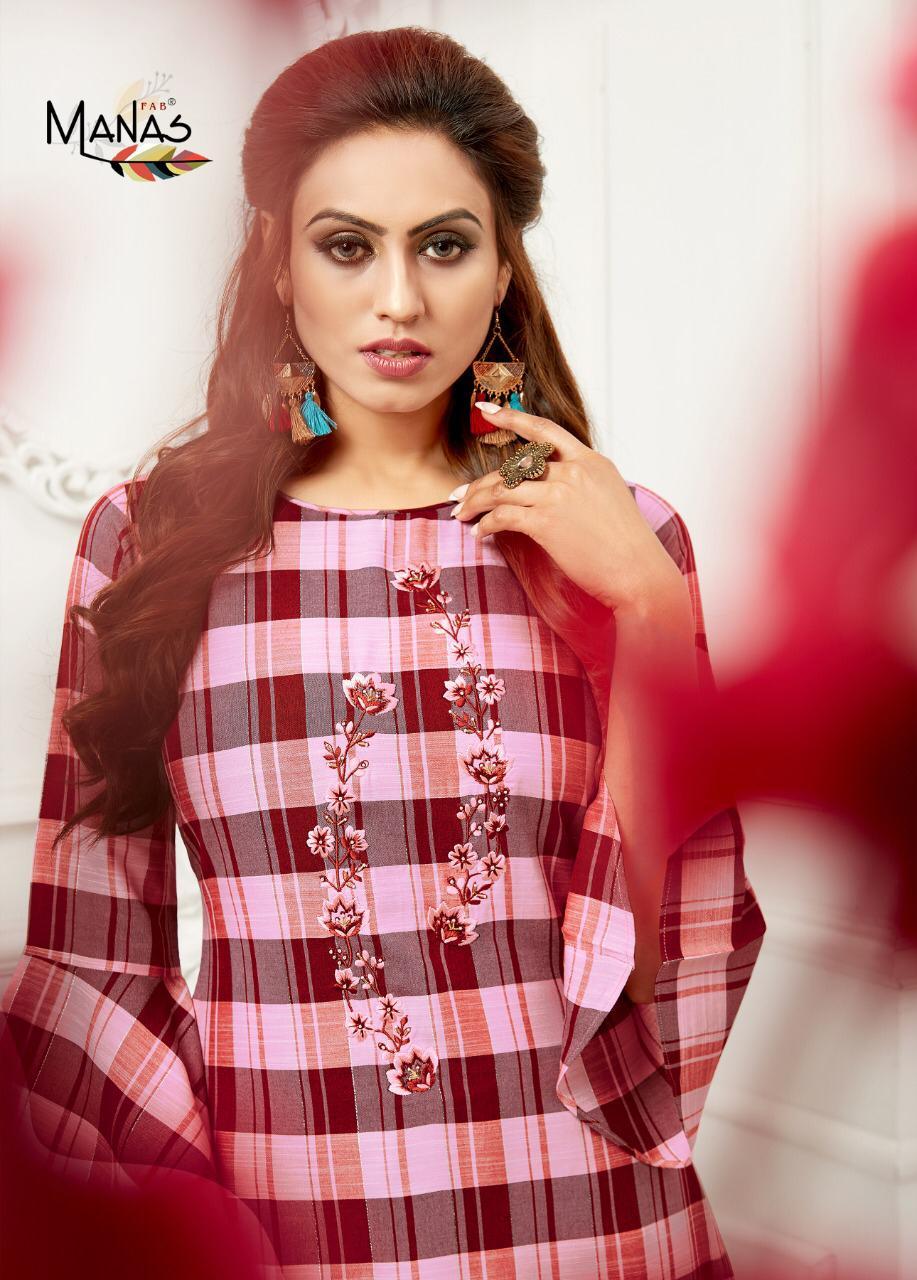 Manas Checks Plazzo Designer Luxury Jari Rayon Checks Tops With Rayon Bottom Wholesale
