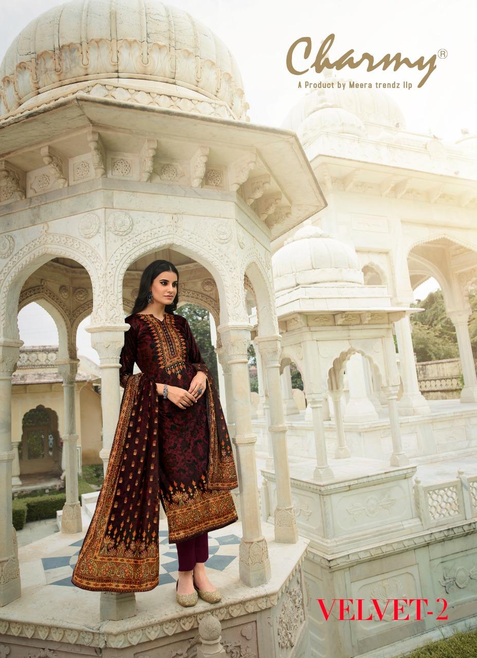 Meera Trendz Velvet 2 Designer Velvet Digital Printed Suits Wholesale