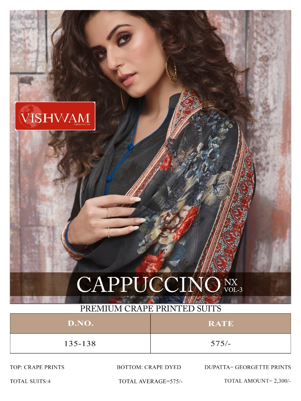 Vishwam Cappuccino Vol 3 Nx Designer Crepe Printed Suits Wholesale