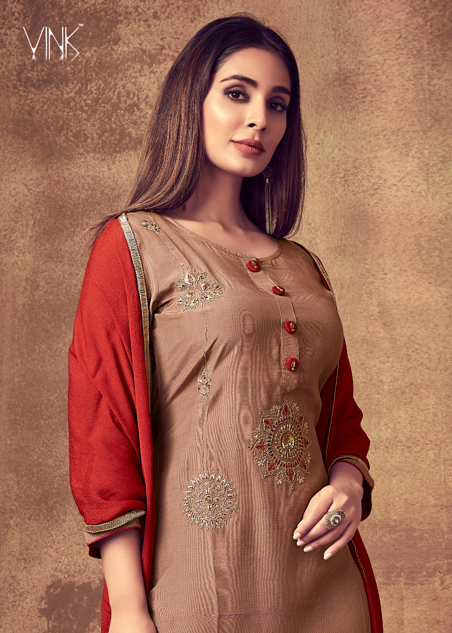 Vink Sabhya Designer Muslin Kurta With Pure Dupatta  And Embroidery Pant Wholesale