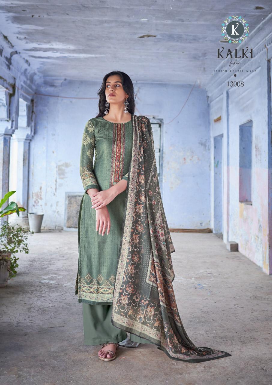 Kalki Gulzar Designer Pashmina Digital Print With Embroidery Work Suits Wholesale
