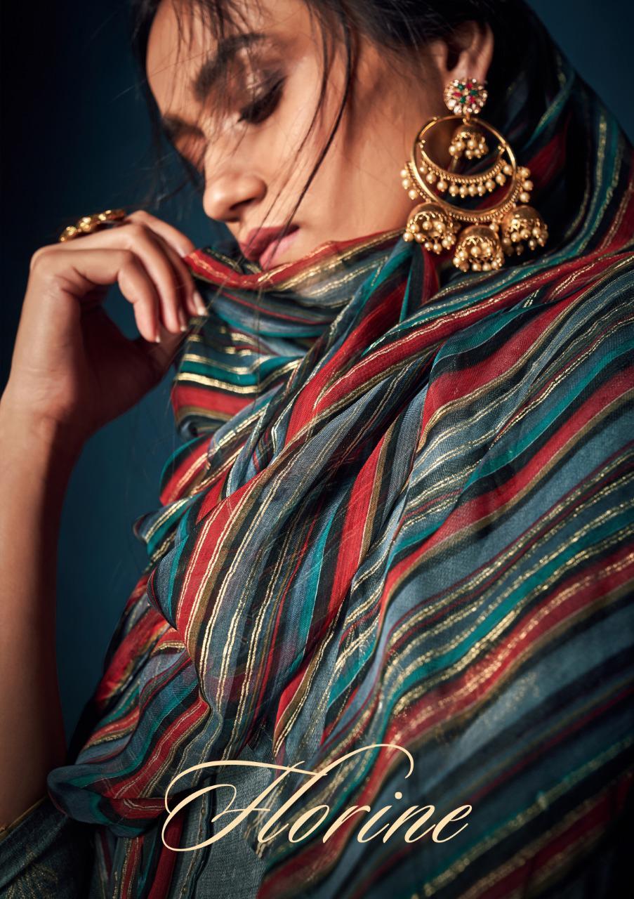Sargam Prints Florine Designer Pashmina Foil Print With Khatli Work Suits Wholesale