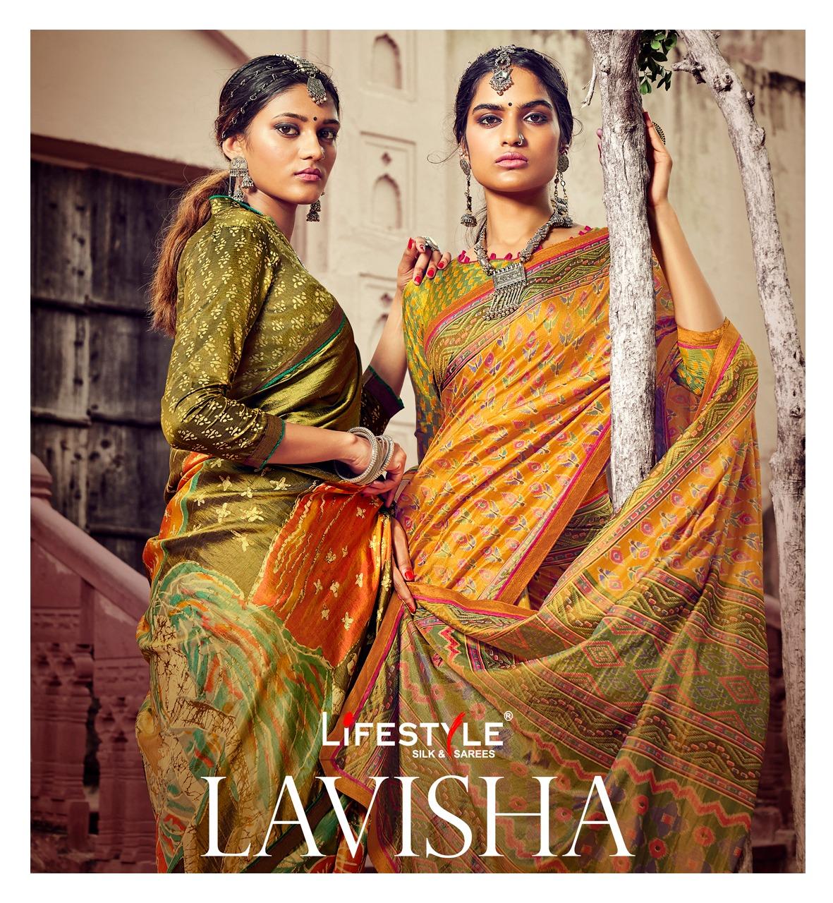 Lifestyle Lavisha Sana Silk Designer Print Lace Sarees Wholesale