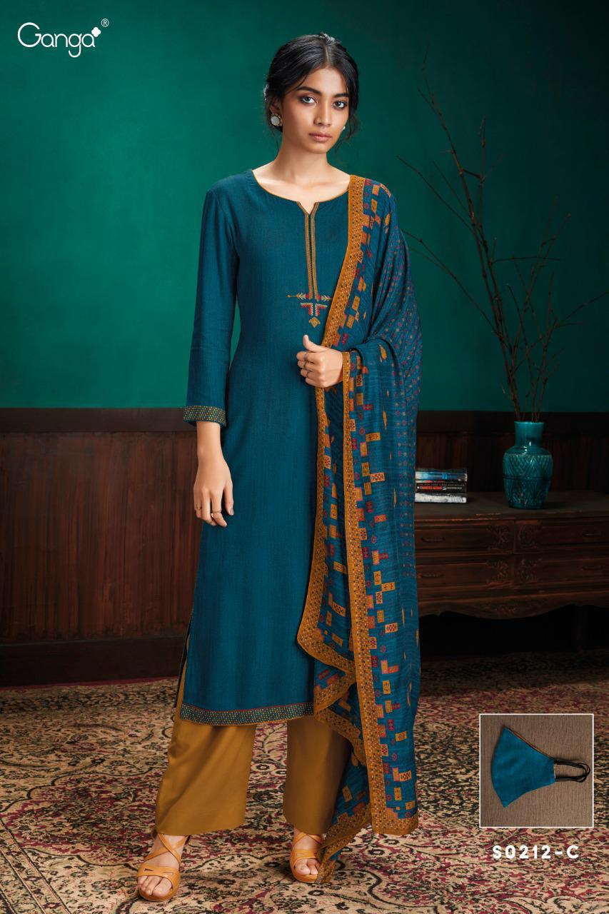 Ganga Simran 212 Designer Wool Dobby With Embroidery Work Suits Wholesale