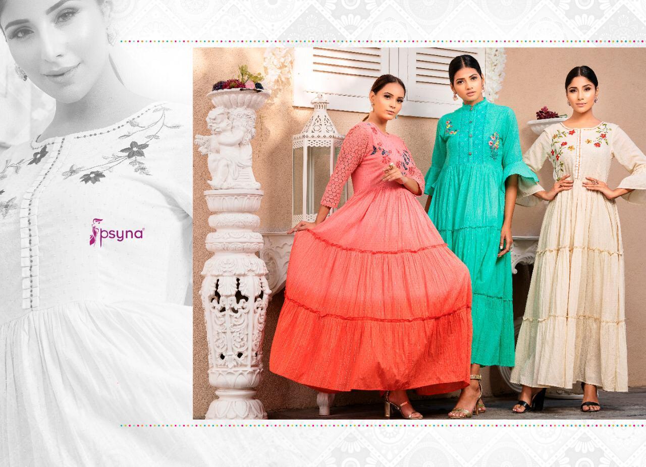 Psyna Precious Vol 2 Designer Three Layers Flyer Cotton Gowns Wholesale