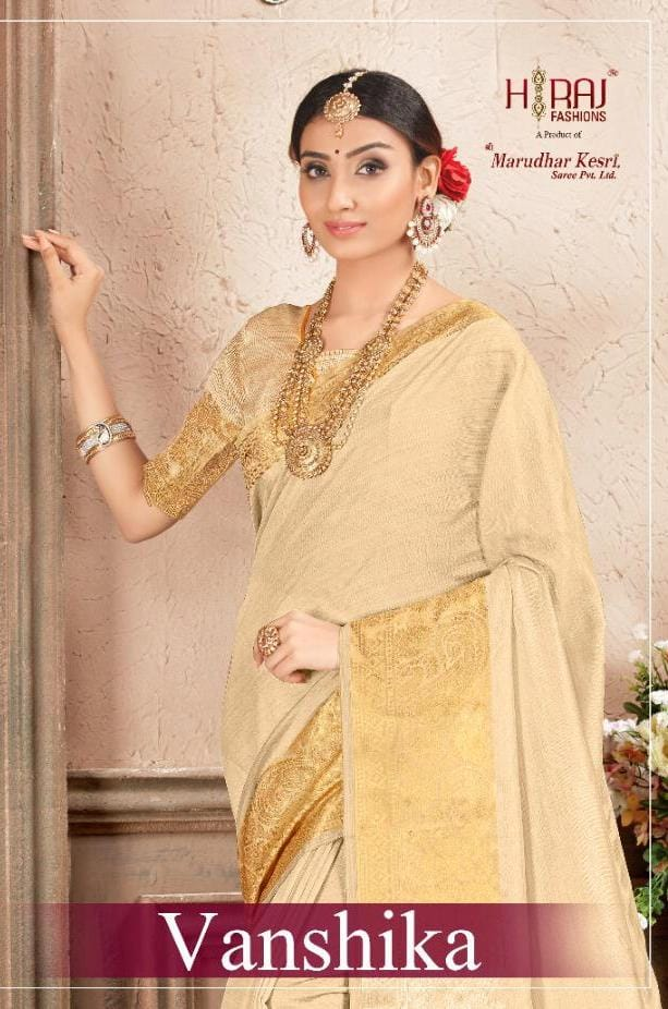 Marudhar Kesari Saree Vanshika Designer Silk Cotton Sarees Wholesale