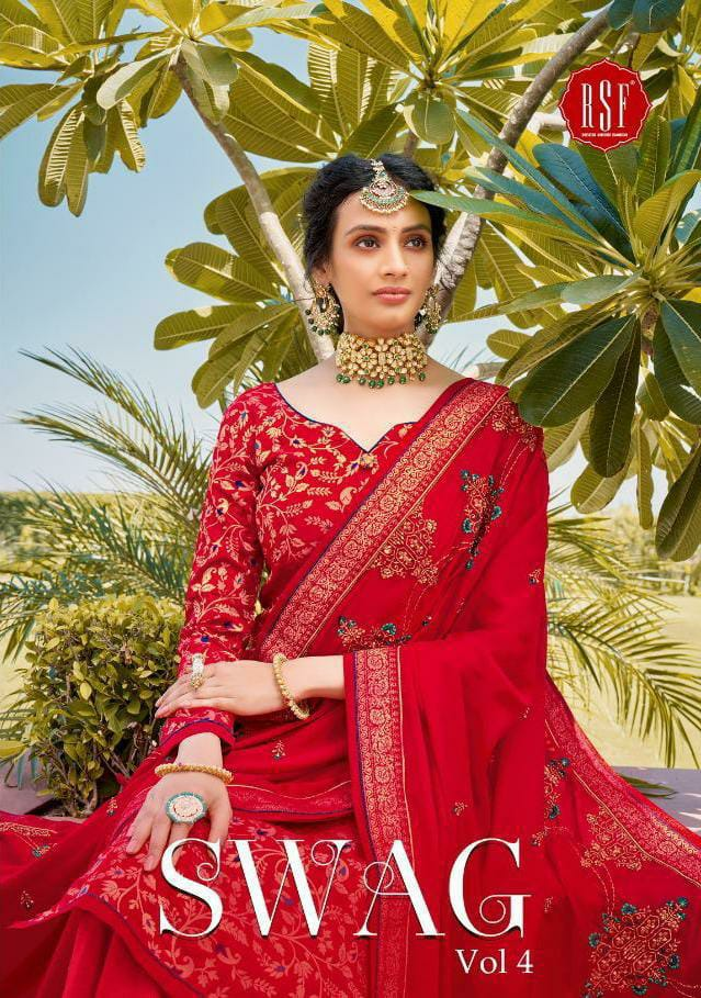 Rsf Swag Vol 4 Designer Pure Silk Jacquard With Heavy Handwork Sharara Suits Wholesale