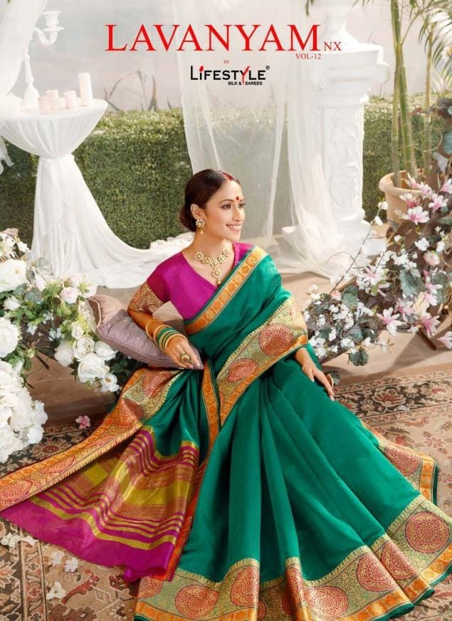Lifestyle Lavanyam Vol 12 Nx Designer Dyed Fancy Chanderi Gala Sarees Wholesale