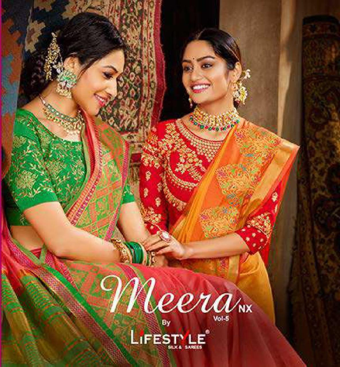 Lifestyle Meera 6 Nx Designer Fancy Chanderi Gala With Embroidery Work Blouse Sarees Wholesale