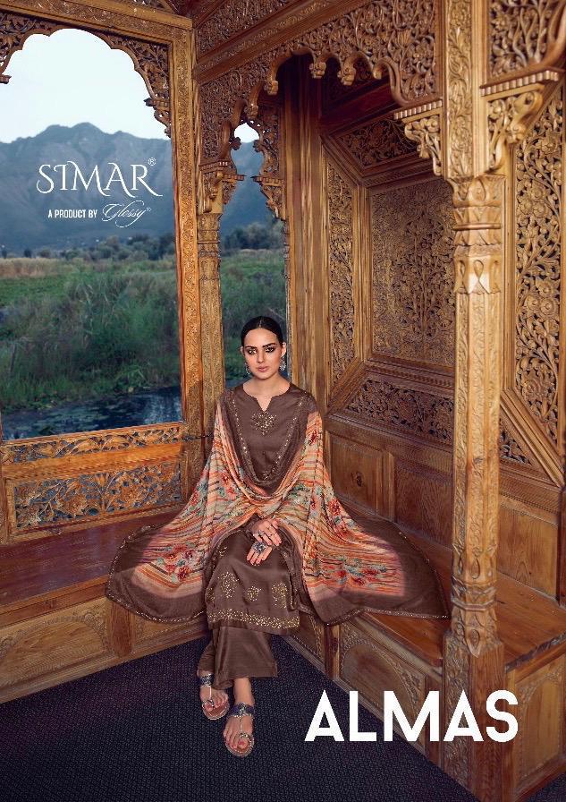 Glossy Almas Satin Silk With Swarovski Work Suits Wholesale