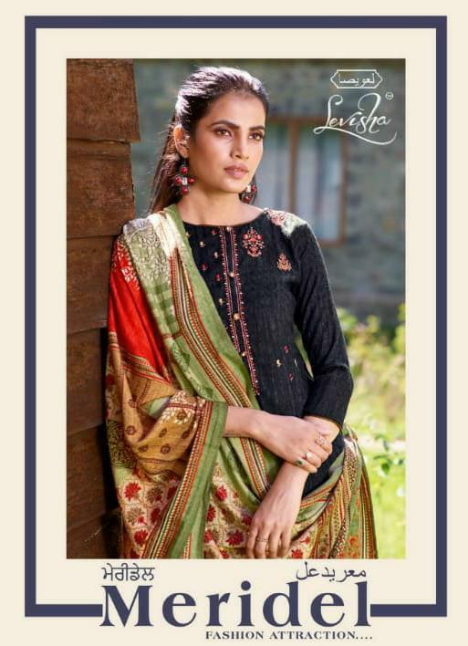 Levisha Meridel Designer Pashmina Nagative Print With Self Embroidery Work Suits Wholesale