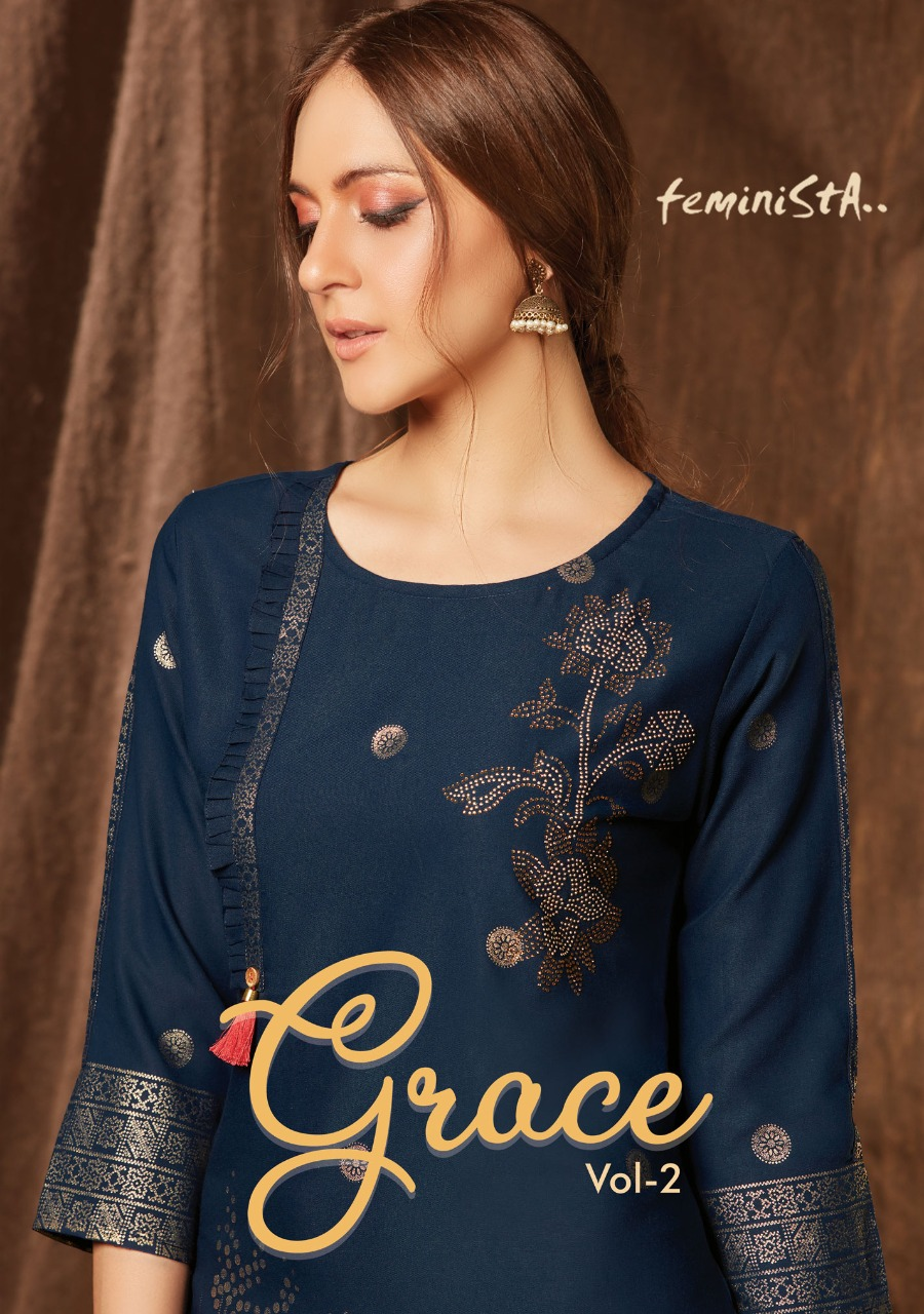 Feminista Grace 2 Designer Rayon Foil Print With Embelishment Kurti With Silk Pant Wholesale
