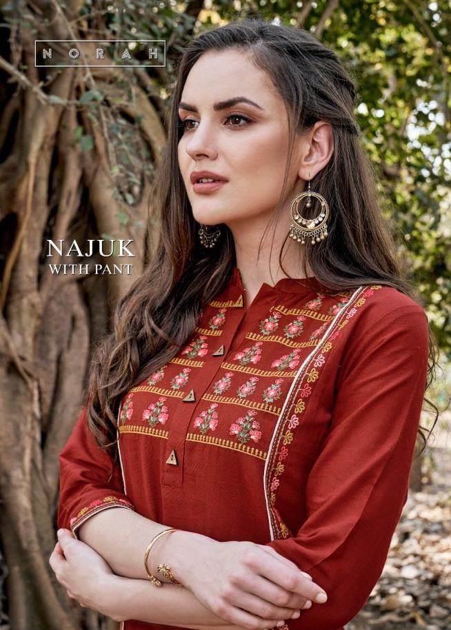 Tunic House Neha Fashion Najuk With Pant Cotton Embroidery Kurti With Pant Wholesale