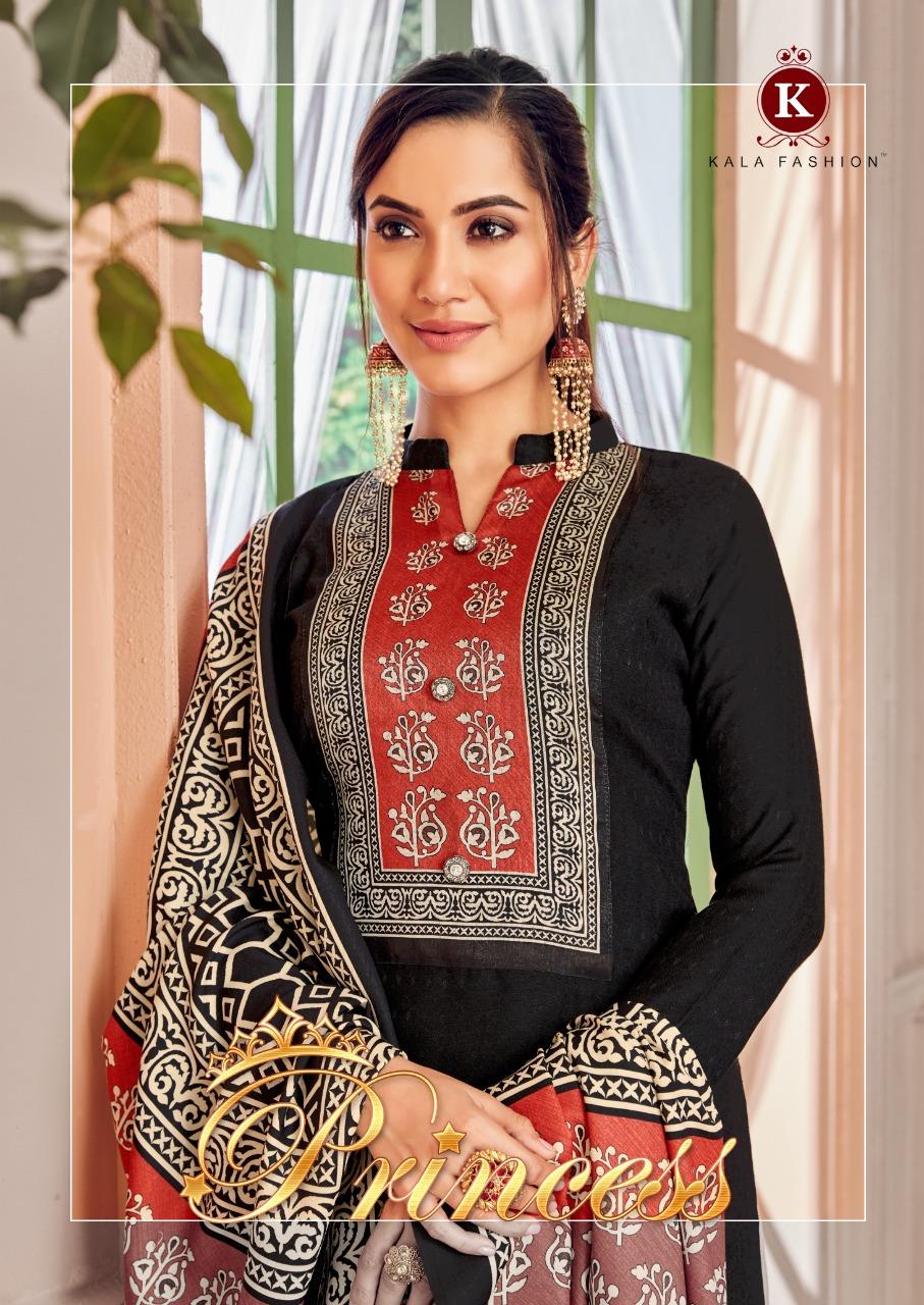 Kala Fashion Princess Pashmina Nagative Print With Digital Neck Daman Suits Wholesale