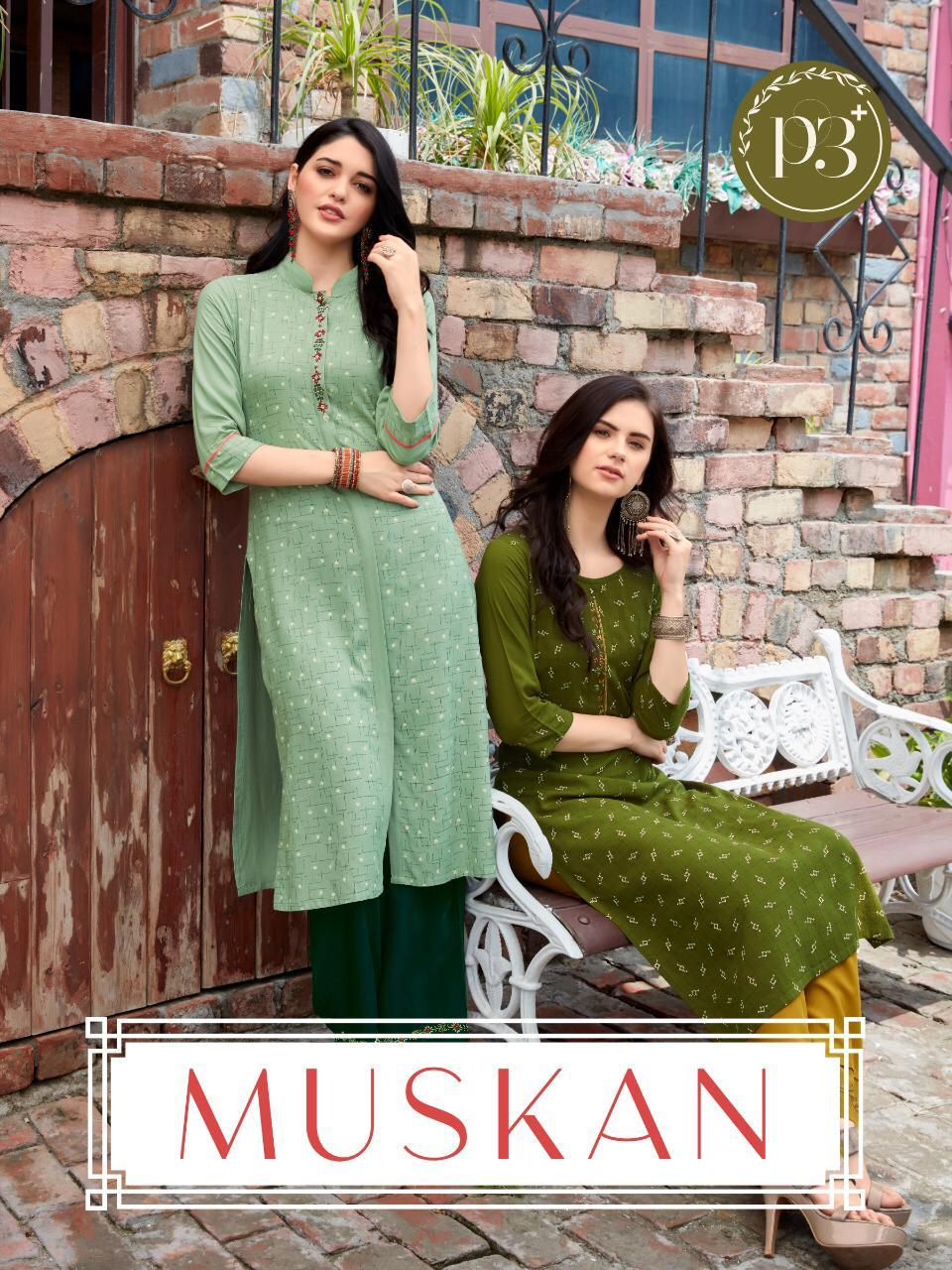 P3+ Muskan Designer Rayon Print With Embroidery Work Kurti With Pant Wholesale