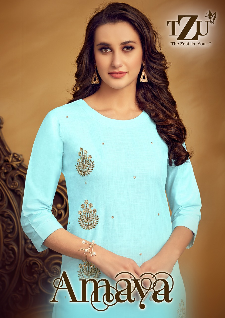 Tzu Lifestyle Amaya Designer Linen Cotton Top With Embroidery Pant Wholesale