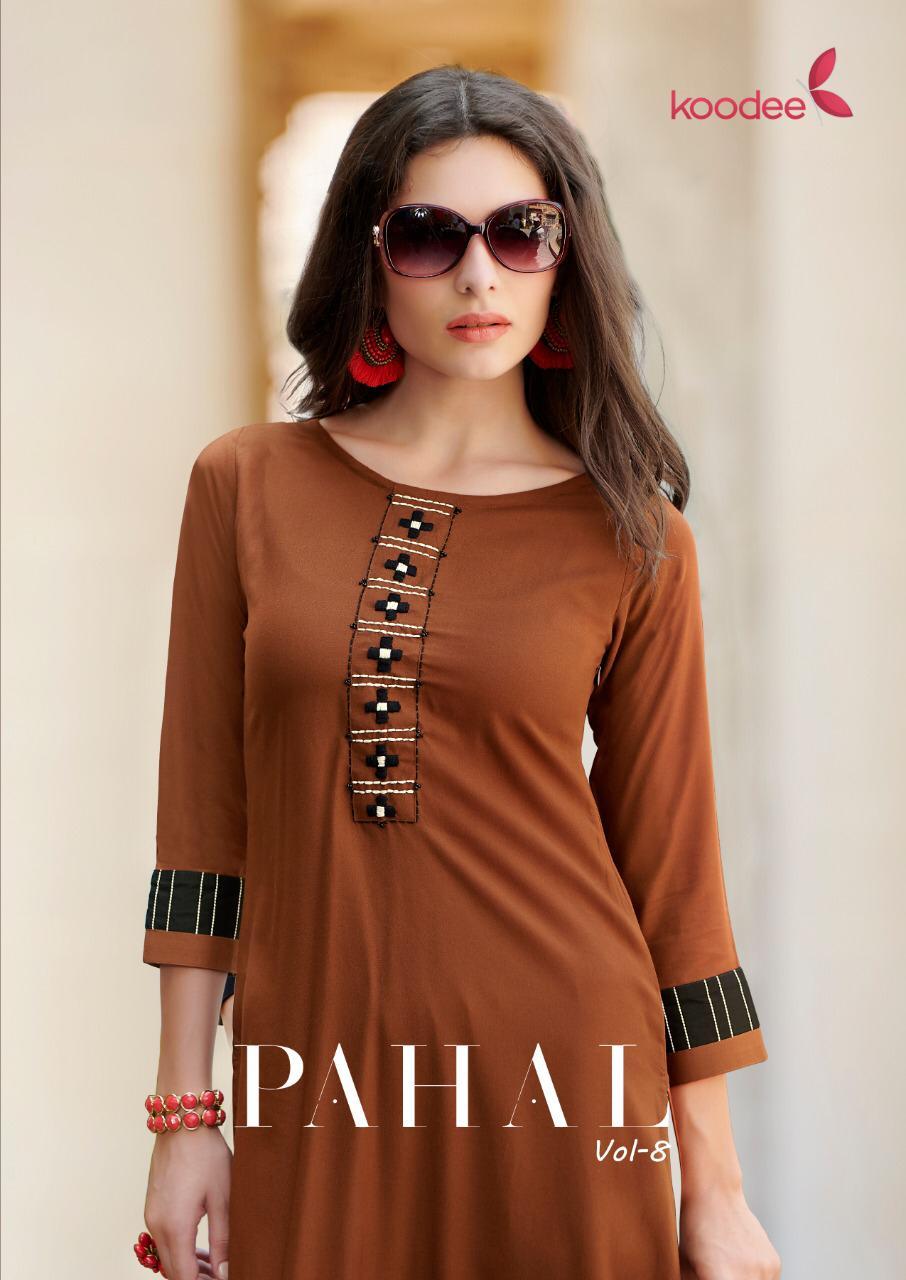 Koodee Pahal Vol 7 Designer Rayon With Embroidery Work Kurtis Wholesale