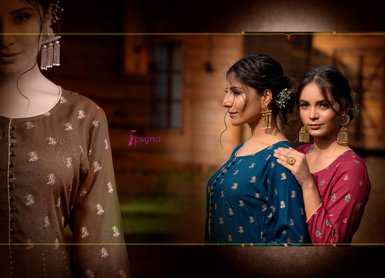 Psyna Purity Vol 4 Designer Gold Print Rayon Gowns Wholesale