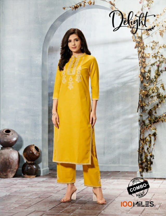 100 Miles Delight Cotton Embroidery Work Kurti With Combo Pants Wholesale