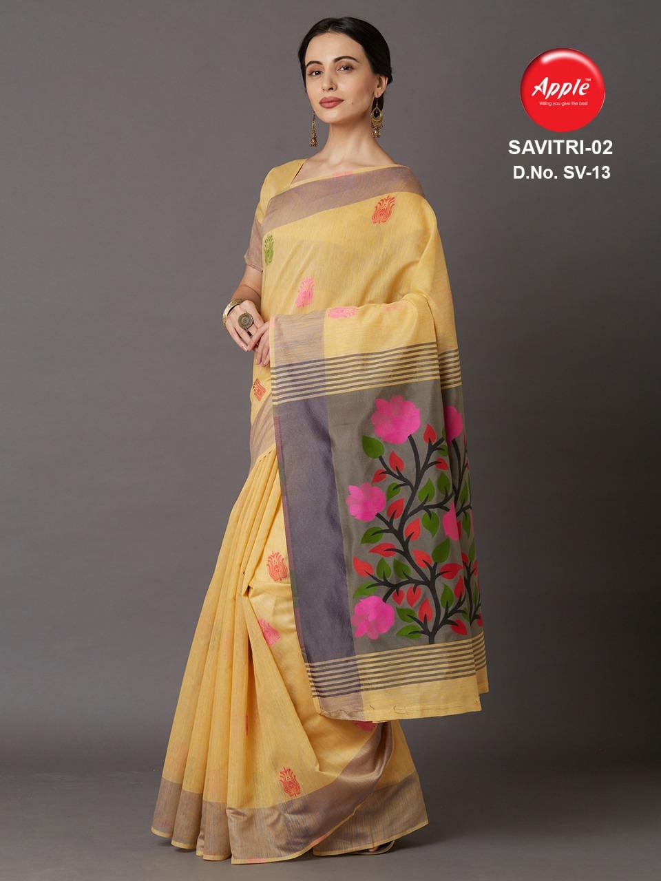Apple Savitri Vol 1 & 2 Designer Cotton Silk Weaving Sarees Wholesale