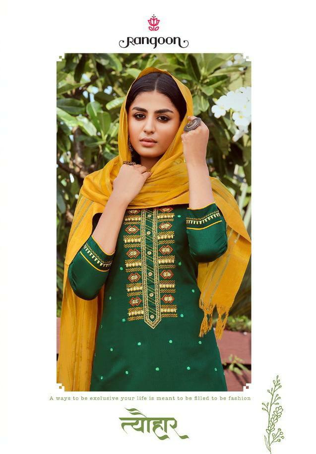 Kessi Rangoon Tyohaar Designer Stitch Jam Silk With Embroidery Work And Khatli Work Suits Wholesale