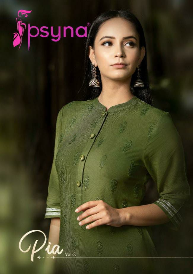 Psyna Pia Vol 2 Designer Lucknowi Kurti With Pants Wholesale