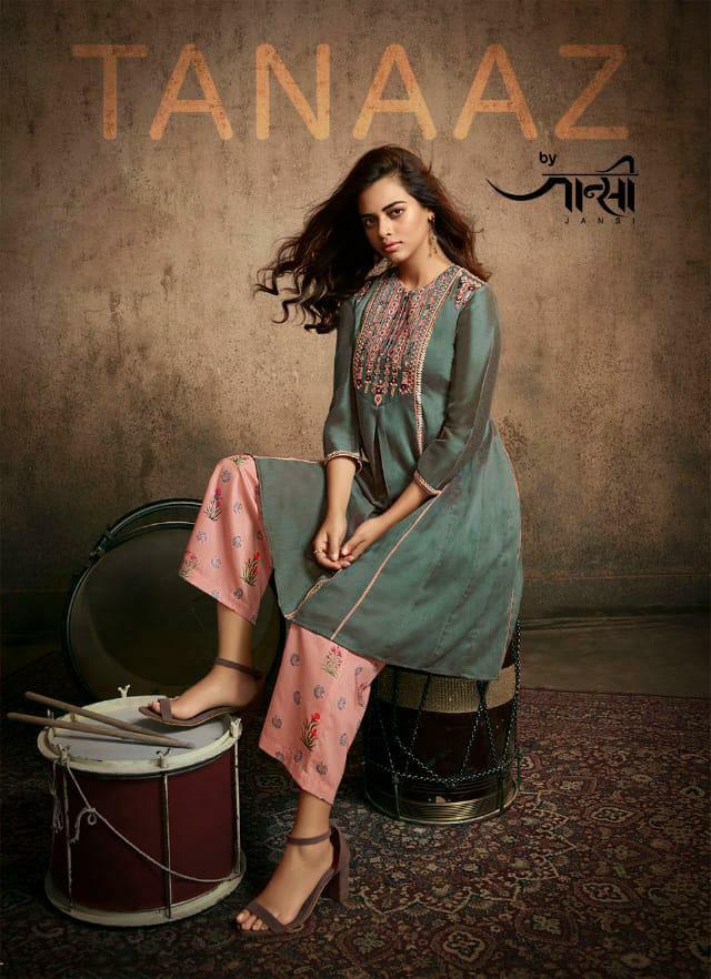 Jansee Tanaaz Designer Silk Embroidery Kurti With Designer Pants Wholesale