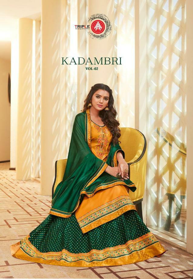 Aaa Kadambari Vol 2 Designer Jam Silk With Work Sharara Suits Wholesale