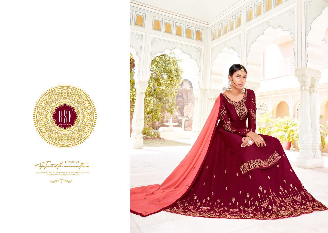 Rsf Mandora Vol 4 Skirt And Bottom 2 In 1 Satin Georgette Silk Long Suit With Heavy Handwork 2 In 1 Bottom Suits Wholesale