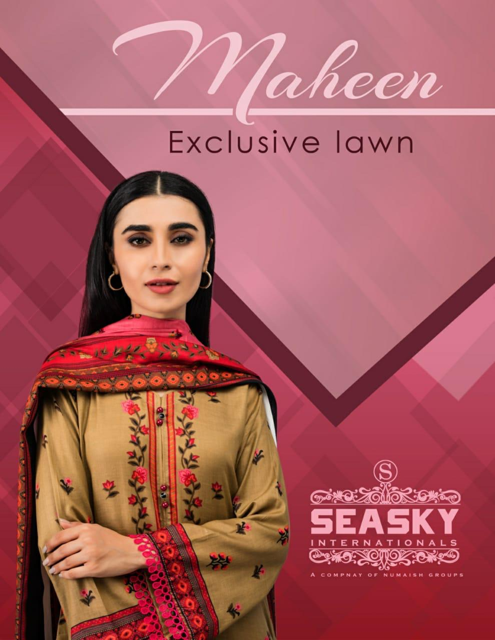Seasky International Maheen Printed Lawn Cotton Collection 2020 Designer Exclusive Cotton Printed Low Range Suits Wholesale