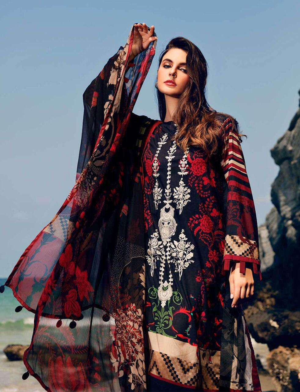 Al Meera D.1210 Red And Black  Designer Embroidery Work With Full Digital Printed Lawn Heavy Suits Singles