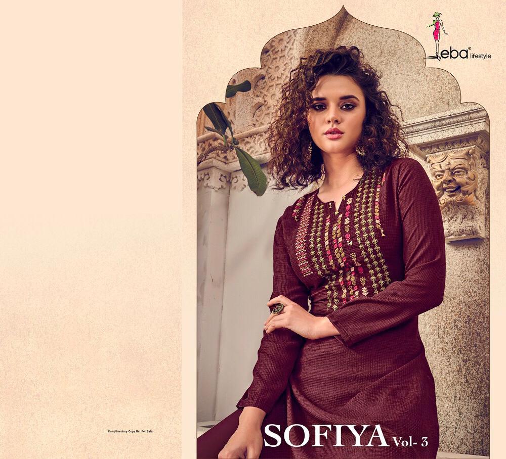 Eba Lifestyle Sofia Vol 3 Strech Cotton Embroidery Work Kurti Wholesale