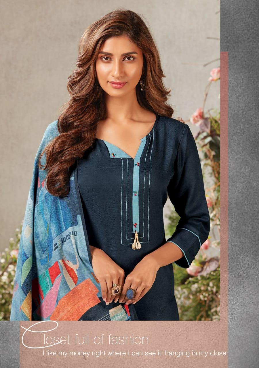 Arena Fashion Feminista Sapphire Designer Pashmina Digital Printed Kurti With Stoles Dupatta Wholesale