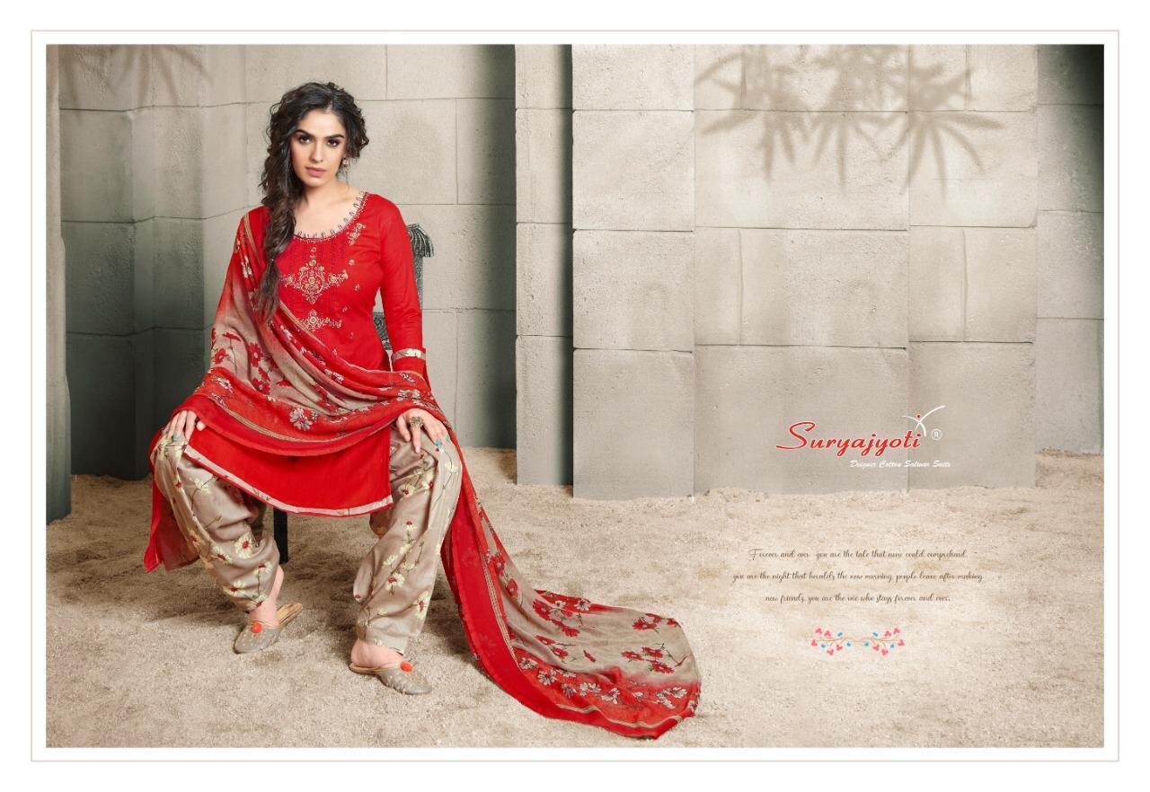 Suryajoti Patiyala Express Vol 4 Designer Cotton Printed Neck Embroiderd Suits Wholesale