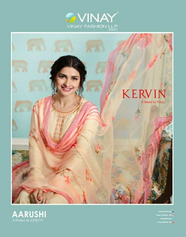 Vinay Fashion Kervin Aarushi Designer Premium Cotton Satin Thread Embroidery Work Suits Wholesale
