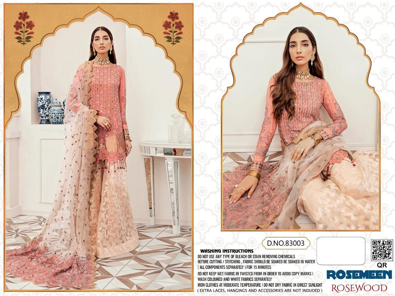 Fepic Rosewood Designer Georgette Net Embroidery Work Suits Single
