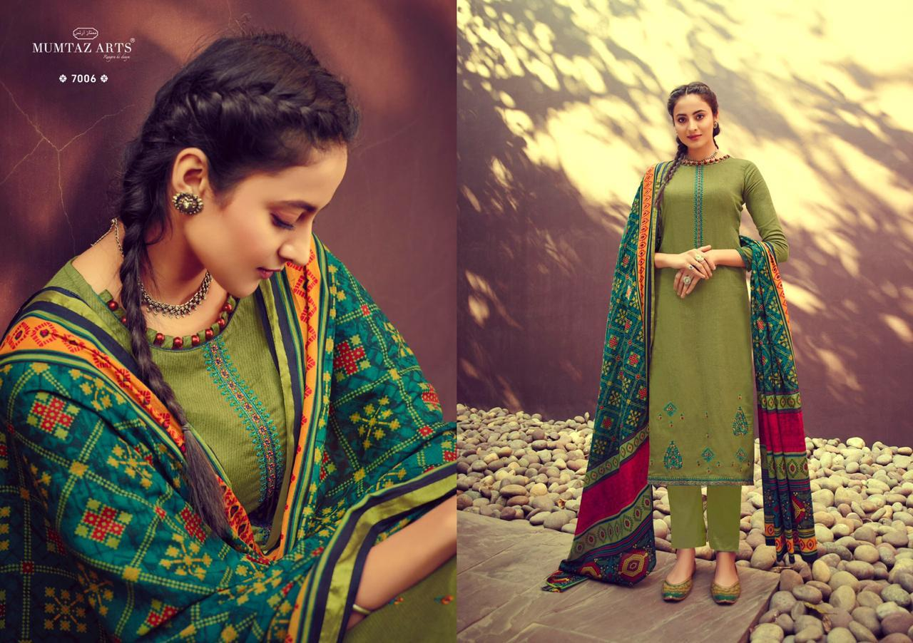 Mumtaz Arts Ikkat Patola Designer Digital Print With Embroidery Work And Daman Work Suits In Single
