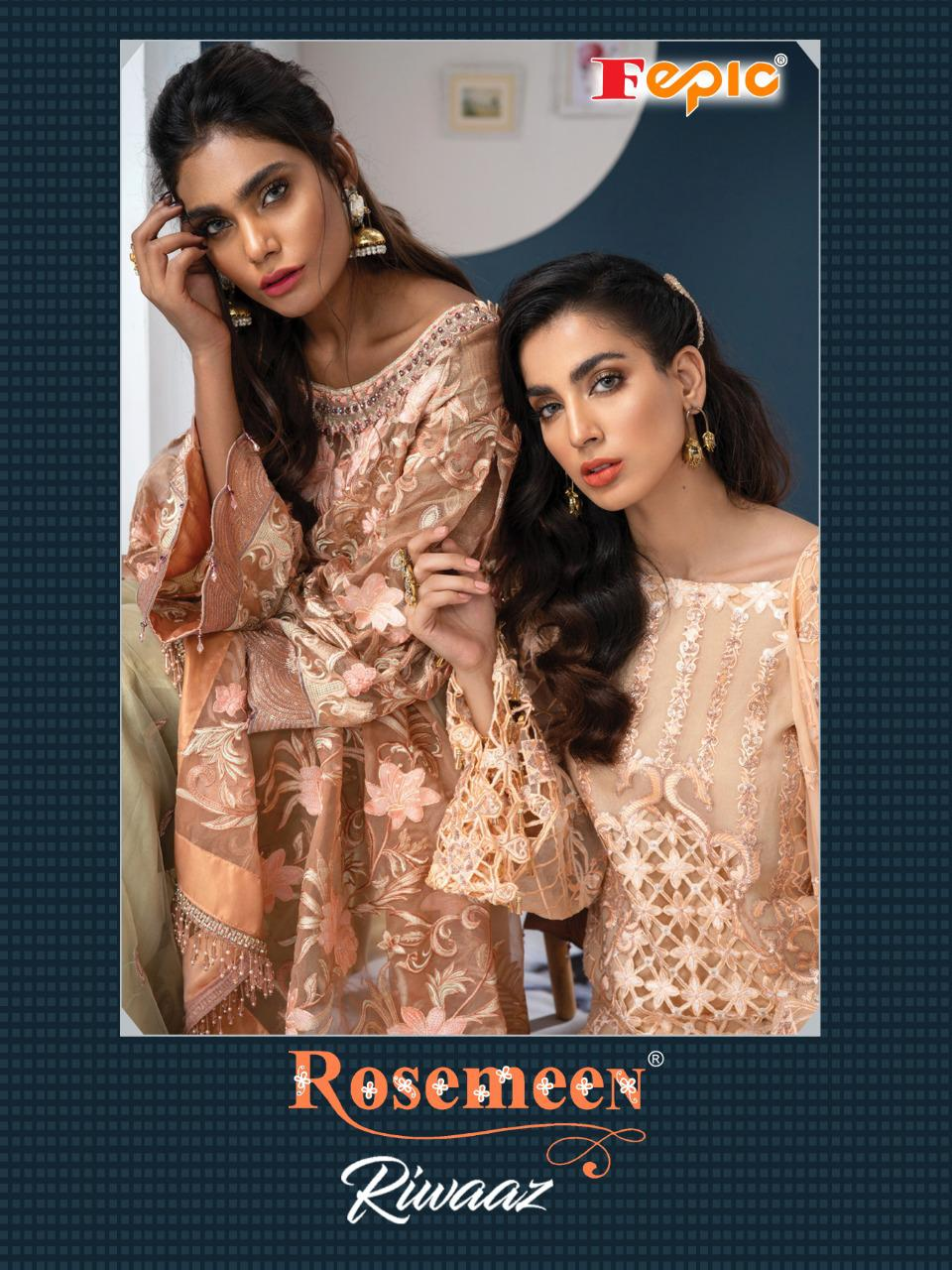Fepic Rosemeen Riwaaz Designer Georgette Organza Net Embroiderd Work Pakistani Pettern Suits Wholesale