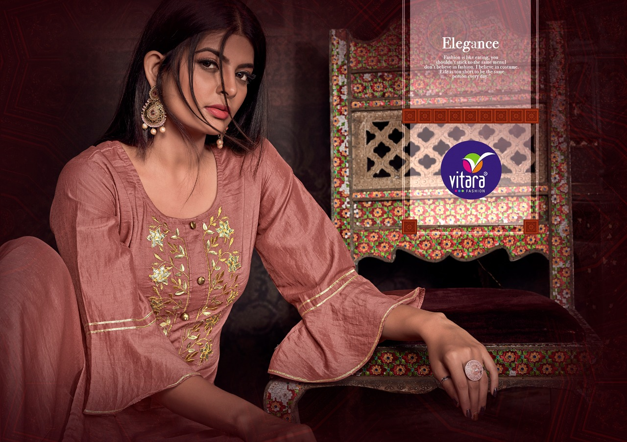 Vitara Fashion Rangriti Designer Chinon Buti Kurti With Plazzo Wholesale