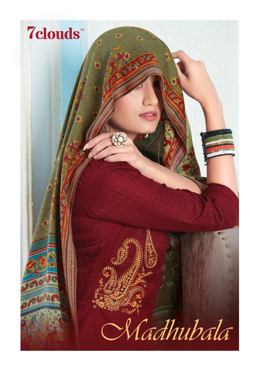 7 Clouds Madhubala Designer Pashmina Kashmiri Embroidery Work Suits Wholesale