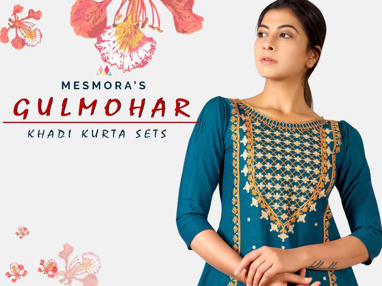 Memora's Gulmohar Diwali Special Designer Khadi Embroidery Work Kurtis With Bottom Wholesale