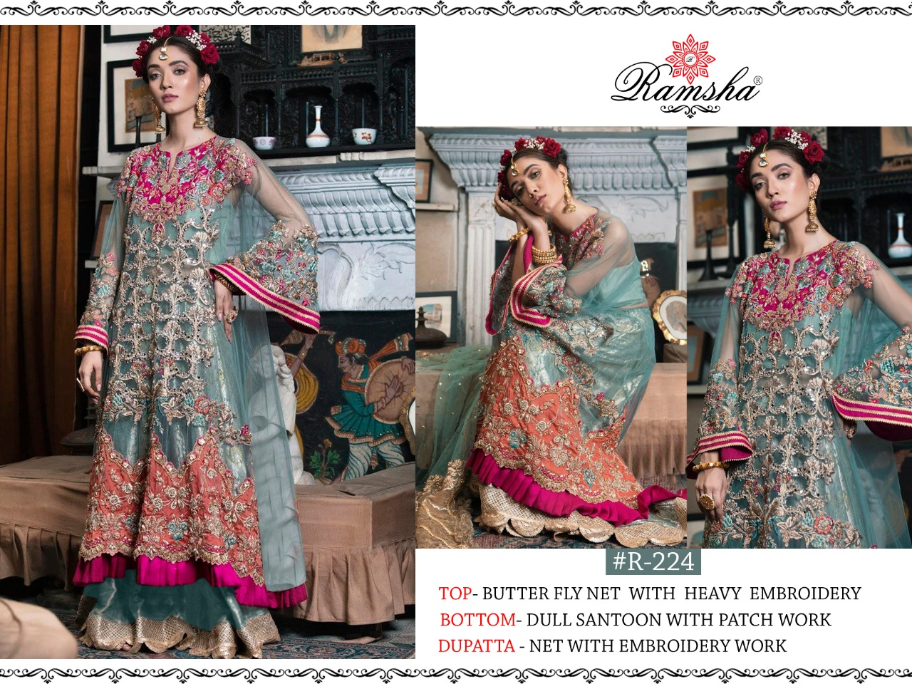 Ramsha R 224 And R 225 Designer Butterfly Net Or Georgette Embroiderd Work Suits Wholesale