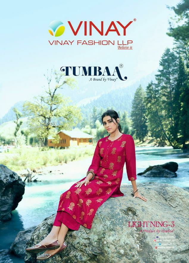 Vinay Fashion Tumbaa Lightning 3 Designer Viscose Dola Jacquard Kurti With Superior Santoon Plazzo Wholesale