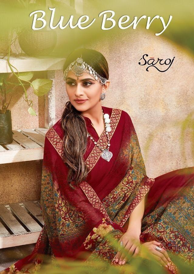 Saroj Saree Blue Berry Designer Georgette Printed Sarees Wholesale